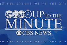 Blue and white Up to The Minute CBS News logo