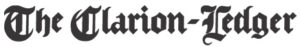 The Clarion Ledger in black newspaper font